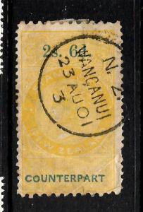 NEW ZEALAND  1870 2/6  QV  COUNTERPART  FU POSTAL CANCEL  P10x12 1/2