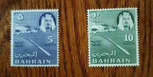 VERY RARE BAHRAIN SHEIKH HIGH VALUE 5 & 10 RS STAMPS MNH HARD TO FIND