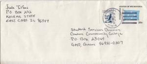 Caroline Islands 3c Lutke on 20c Micronesia Flag Envelope 1985 Kosrae, Caroli...