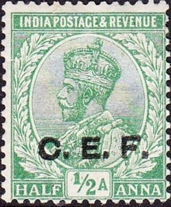 INDIA  ABROAD C.E.F 1914 KGV ½a Light Green SGC24 MH