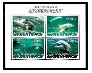 Samoa 947 MNH 1997 Dophins (Greenpeace) S/S