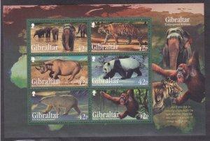 Gibraltar MNH S/S 1289a Endangered Animals 2011