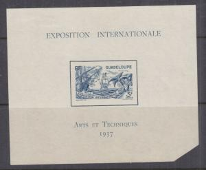 GUADELOUPE, 1937 International Exhibition Souvenir Sheet, mint no gum.