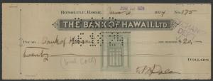 1924 BANK OF HAWAII CHECK SIGNED BY SANFORD B. DOLE (PRESIDENT 1894-98) WL8936