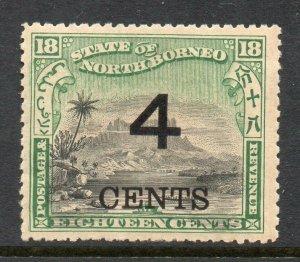 North Borneo 1899 4c auf 18c Perf 13 ½ -14 Sg 116a Postfrisch Cv