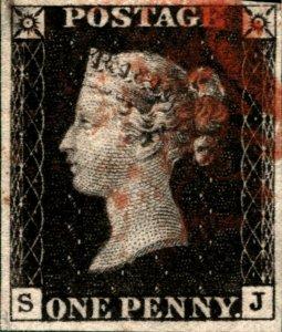Great Britain Penny Black SJ Four Margins