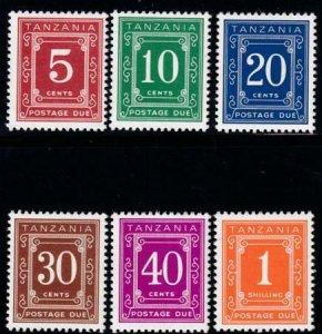 Tanzania 1978 SC J1-J6 MNH Set