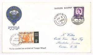 GB WALES REGIONAL Cover *Talyllyn Railway* 1s Letter Stamp 1965 {samwells}AJ83