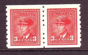 Canada Sc 265 1942 3 c dark carmine G VI coil stamp pair mint NH