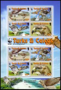 Turks and Caicos Birds WWF Red-tailed Hawk Sheetlet of 2 sets SG#MS1974