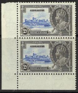 GIBRALTAR SG114/a 1935 2d S.JUBILEE EXTRA FLAGSTAFF MNH