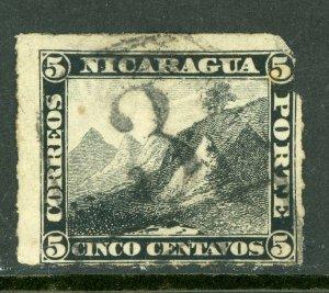 Nicaragua 1877 5¢ Black Momotombo Roulette w/Granada Cancel L227