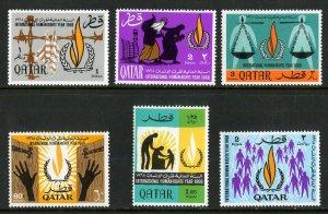 QATAR 128-33 MNH SCV $22.45 BIN $12.00 HUMAN RIGHTS