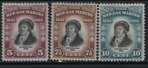 SAN MARINO 169-171    MINT HINGED, MELCHIORRE DELFICO ISSUES 1935