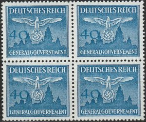 Stamp Germany Poland General Gov't Mi D33 Sc NO33 Block 1943 WW2 War Adolf MNH