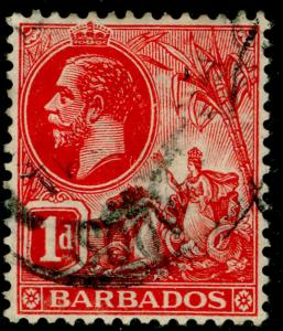 BARBADOS SG172a, 1d scarlet, used.