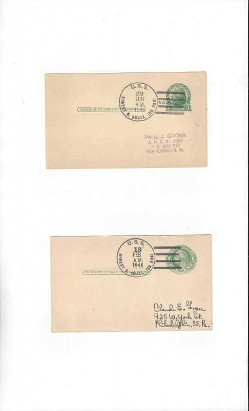 US Navy Covers USS Ernest G. Small DD 838