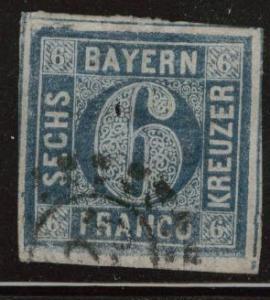 Bavaria German State Scott  11 silk thread Thin holed paper