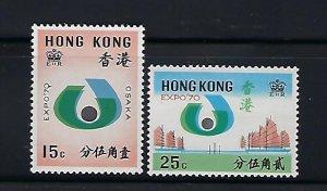HONG KONG SCOTT #255-256 1970 INTERNATIONAL EXPOSITION - MINT NEVER  HINGED