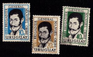 Uraguay (1961) Scott #671-673 USED A Complete Set Of 3 VF