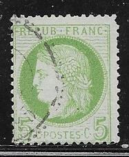 France #53  5c yellow green, 1872 (U) CV$7.50