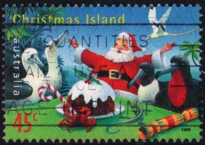 Christmas Island: SC#423 45¢ Santa Claus with Christmas Pudding (1999) Used
