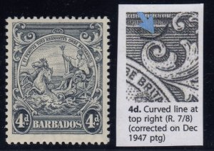 Barbados, SG 253b, MHR Curved Line at Top Right variety