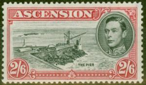 Ascension 1944 2s6d Black & Dp Carmine SG45c P.13 V.F MNH
