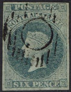 SOUTH AUSTRALIA 1856 QV 6D SLATE BLUE IMPERF USED