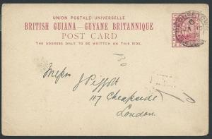 BR GUIANA 1894 2c postcard commercially used Georgetown to London..........46922