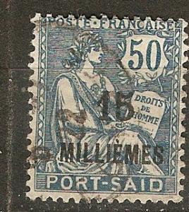France Off Egypt Pt. Said 64 Y&T 76 Used F/VF 1921 SCV $6.75