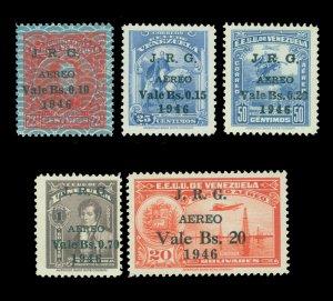 VENEZUELA 1947 AIRMAIL - J.R.G. surcharged set  Scott # C223-C227 mint MNH