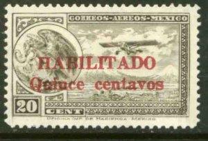 MEXICO C38, 15¢ ON 20¢ HABILITADO, PERFORATED. UNUSED, H OG. VF.