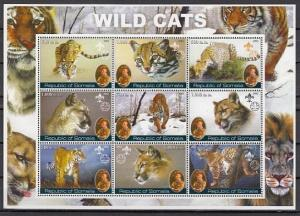 Somalia, 2002 Cinderella issue. Wild Cats sheet of 9 with Scout Founder.