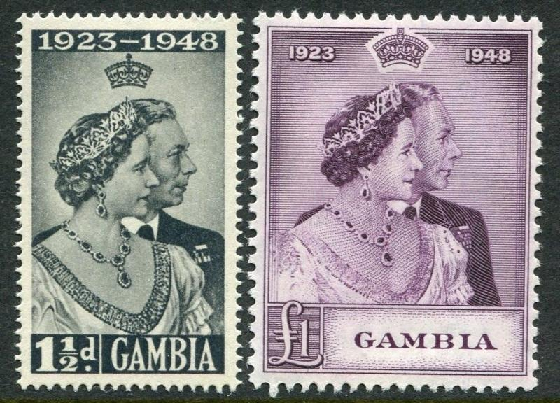 GAMBIA-1948 Royal Silver Wedding Set Sg 164-165 LIGHTLY MOUNTED MINT V20322