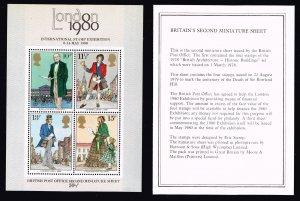 UK STAMP GREAT BRITAIN 1980 INTERNATIONAL STAMP EXHIBITION MNH S/S