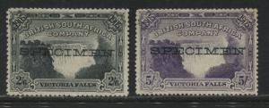 Rhodesia 1905 2/6d and 5/ overprinted SPECIMEN