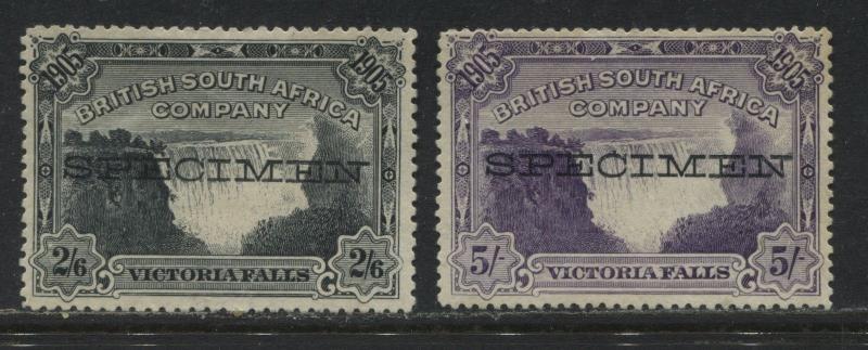 Rhodesia 1905 2/6d and 5/ overprinted SPECIMEN