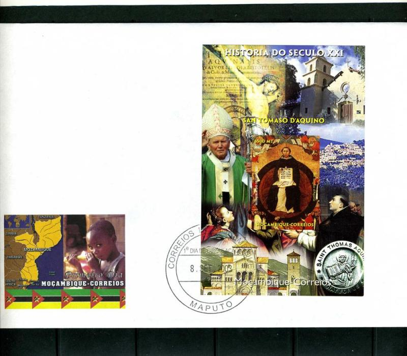 Mozambique 2003 Pope John Paul II-St.Thomas Aquino s/s Imperforated in FDC