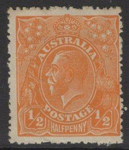 AUSTRALIA SG56w 1923 ½d ORANGE WMK INVERTED MTD MINT