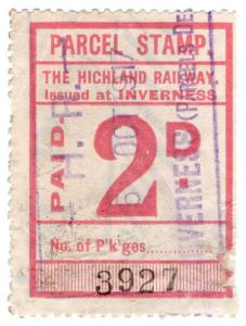 (I.B) The Highland Railway : Parcel Stamp 2d (Inverness)