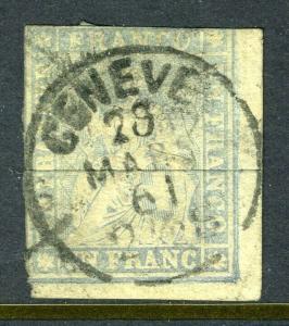 Switzerland #31   1 Fr Seated Helvetia (USED)  cv$1,000.00