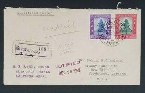 1959 Kathmandu Nepal Philip Cummings Woodstock Vermont Registered Sea Mail Cover
