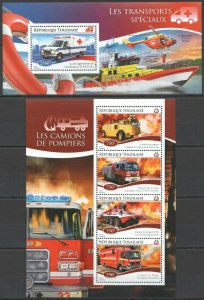 TG537 2014 TOGO RED CROSS SPECIAL TRANSPORT FIRETRUCKS KB+BL MNH