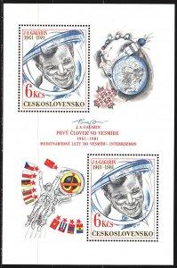 Czechoslovakia. 1981. bl43. Gagarin, space. MNH.