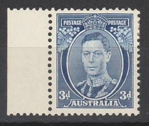 AUSTRALIA 1937 KGVI 3D BLUE DIE II THICK PAPER