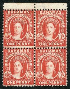 Bahamas SG40 1882 1d scarlet-vermilion wmk CA perf 12 block of 4