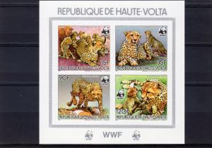 Upper-Volta (Burkina Faso) 1984 WWF Cheetah Souvenir Sheet Imperforated MNH