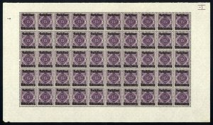 w48 Wurttemberg Scott #O48 15pf purple Mint OG NH full pane of 50 Scarce