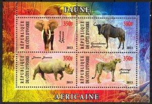 Ivory Coast 2013 Animals (2) Panther Elephants Rhinoceros MNH Cinderella !